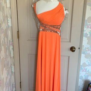 PROM DRESS Cache Orange Backless Prom Dress Size 4